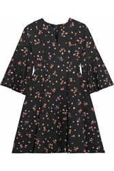 Carven Floral Print Crepe Mini Dress Black