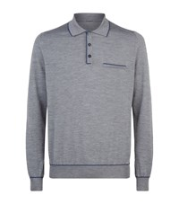 Zilli Alligator Trim Polo Sweater Male Dark Grey