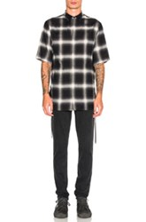 Helmut Lang Drawcord Shirt In Black Checkered And Plaid Black Checkered And Plaid