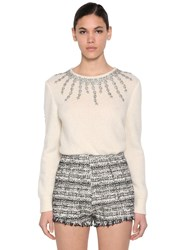 Giambattista Valli Embellished Cashmere And Silk Knit Sweater White