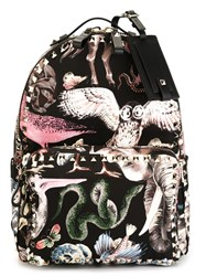 Valentino Garavani Animal Print Backpack Black
