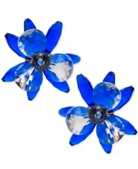Kate Spade New York Gold Tone Blooming Brilliant Statement Stud Earrings Blue Multi