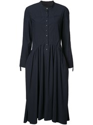 Deep Moss Flared Shirt Dress Blue