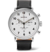 Shinola The Canfield Chronograph 43Mm Stainless Steel And Leather Watch Black