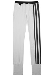 Y 3 Light Grey Striped Cotton Jogging Trousers