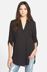 Junior Women's Lush 'Perfect' Roll Tab Sleeve Tunic Black