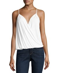 Three Dots Crossover Sleeveless Jersey Top White