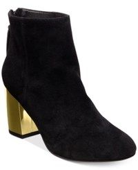 Steve Madden Women's Cynthia Zipper Gold Block Heel Booties Women's Shoes Black Suede
