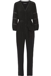 Vanessa Seward Belted Chantilly Lace Trimmed Silk Jumpsuit Black