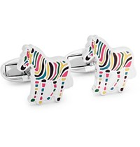 Paul Smith Zebra Silver Tone And Enamel Cufflinks
