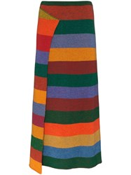 The Elder Statesman Striped Cashmere Midi Skirt 60