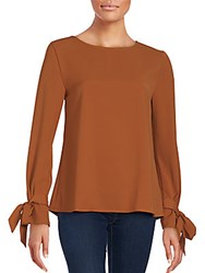Le Lis Solid Boatneck Top Burnt Orange