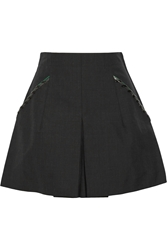 Toga Faux Leather Trimmed Pleated Gabardine Shorts