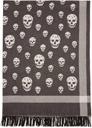 Alexander Mcqueen Black And Off White Big Skull Shawl Scarf