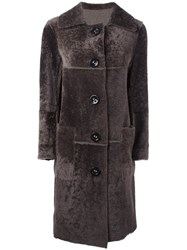 Sylvie Schimmel Lamb Fur Midi Coat Brown
