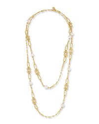 Sequin Graduated Link Pearl Station Necklace Gold