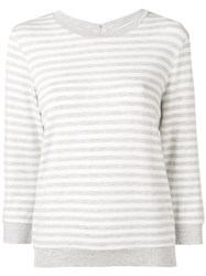 Majestic Filatures Striped Fitted Sweater Grey