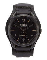 Nixon C39 Watch With Black Leather Strap And Rose Gold Face