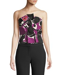 Trina Turk Lacquer Orchid Strapless Top Purple Pattern