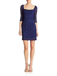 Abs By Allen Schwartz Lace Squareneck Sheath Dress Cobalt