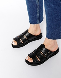 H By Hudson Sparta Black Leather Flat Sandals Blackcroc