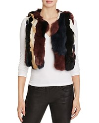 525 America Multi Color Fur Super Crop Vest Black Combo