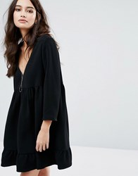 Baandsh Open Back Smock Dress Noir Black