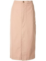 Bassike Zip Front Canvas Skirt Pink