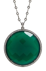 Susan Hanover Women's Large Semiprecious Stone Pendant Necklace Emerald Green Blk Rhodium