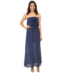 Gabriella Rocha Gauze Tube Ruffle Front Maxi Dress Navy Women's Dress