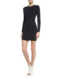 A.L.C. Nick Long Sleeve Ribbed Stretch Dress Navy