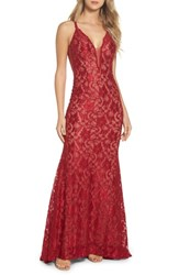 Xscape Evenings 'S Plunging Beaded Lace Mermaid Gown Red Tan