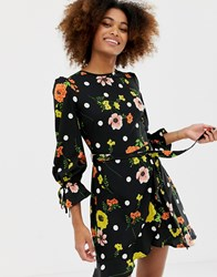 Influence Frill Skirt Back Detail Dress In Floral And Spot Print Black Floral And Polka