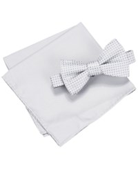 Countess Mara Men's Two Tone Dot Bow Tie And Pocket Square Set Silver