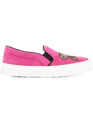 Markus Lupfer Monkey Patch Slip Ons Pink And Purple