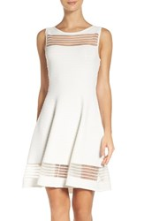 French Connection Women's Tobey Crepe Fit And Flare Dress Summer White