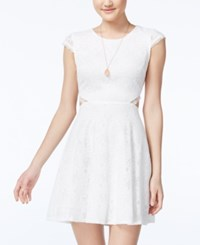 Sequin Hearts Juniors' Lace Cutout Back Fit And Flare Dress White
