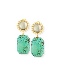 Pyrite And Turquoise Drop Earrings Nest Jewelry