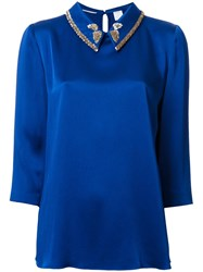 Ingie Paris Embellished Collar Blouse Blue