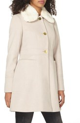 Dorothy Perkins Women's Faux Fur Collar Coat White