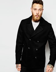Asos Wool Peacoat In Black
