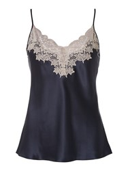 Ginia Silk Camisole Top With Lace Detail Navy