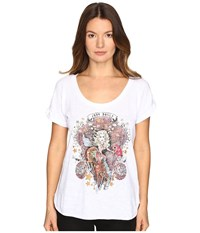 Just Cavalli Dolly Parton Short Sleeve Scoop Neck T Shirt White Women's T Shirt