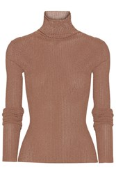 Tibi Metallic Ribbed Knit Turtleneck Sweater X Small