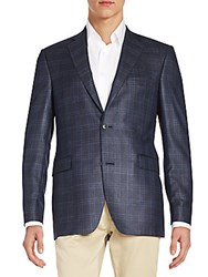 Saks Fifth Avenue Slim Fit Windowpane Plaid Silk And Wool Sportcoat Navy