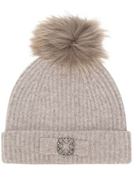 Max And Moi Pom Pom Cap Nude And Neutrals