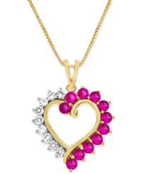 Macy's Lab Created Ruby 3 4 Ct. T.W. And White Sapphire 1 3 Ct. T.W. Heart Pendant Necklace In 14K Gold Plated Sterling Silver Red