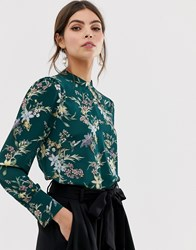 Oasis Floral Print Keyhole Blouse In Green Multi