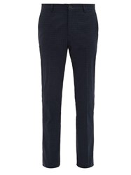 Etro Mosaic Print Cotton Blend Slim Leg Trousers Blue