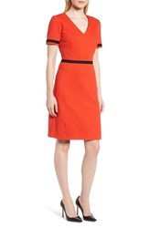 Boss Higaniu A Line Pique Dress Sunset Orange
